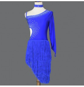 Women's royal blue fringes competition latin dance dresses stage performance rumba salsa chacha dance dress